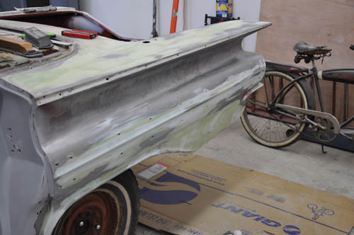 Drivers side quarter panel finally ready for high-build primer.