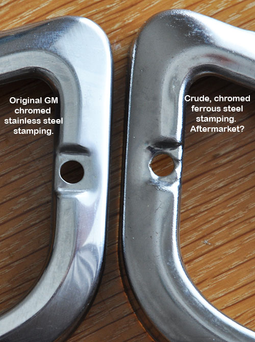Front turn signal bezels, compared.