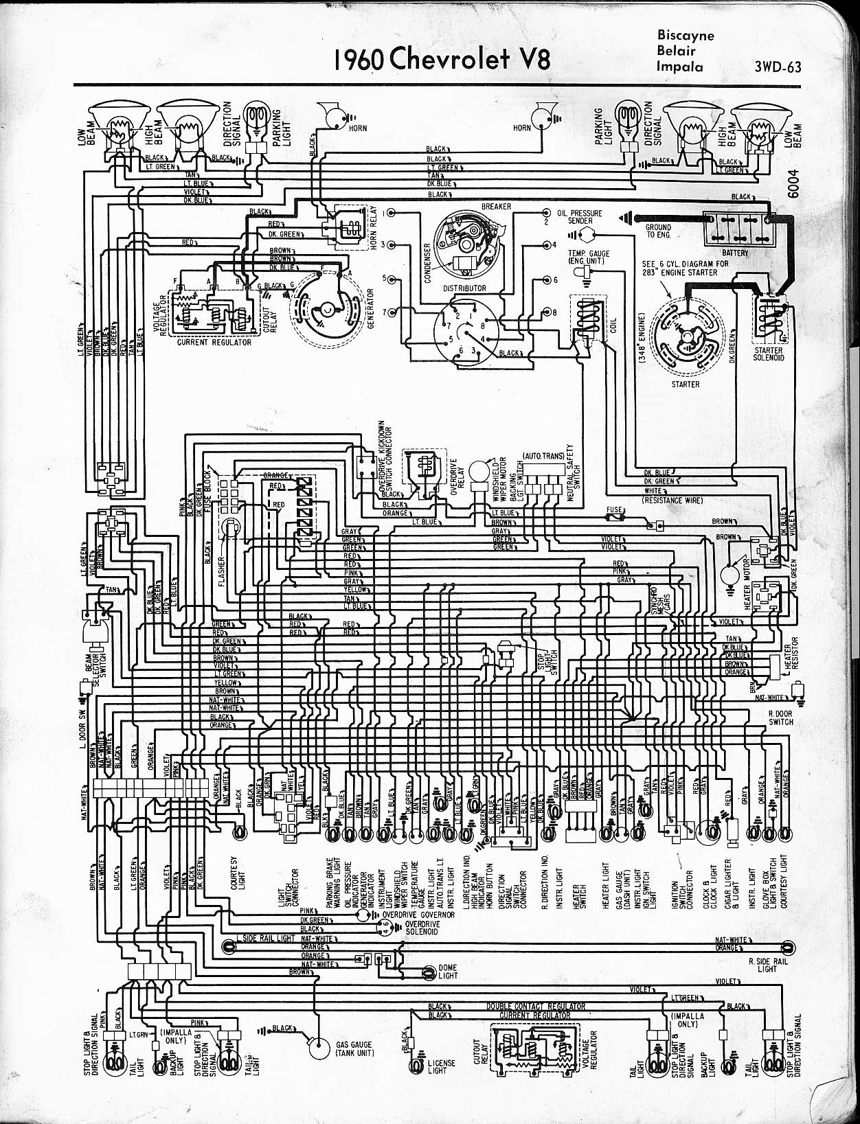 Impala Wiring Schematic Ask Answer Diagram 68 Harness 1960 Chevrolet Diagrams V8 And L6 Engines Rh 60impala Com 1968 2004