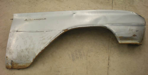 Right front fender before being repaired.