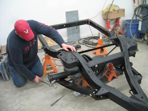 Steve installing the rear axle