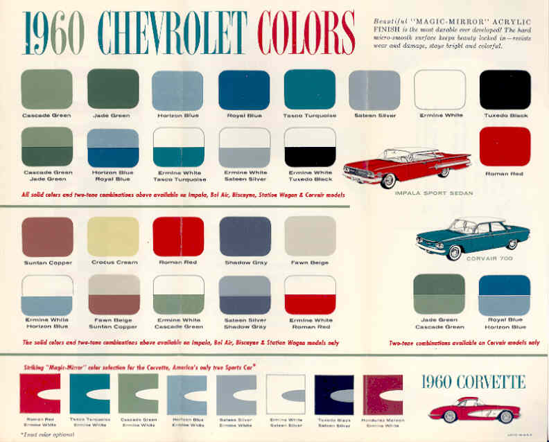 1960 Chevrolet Paint Colors